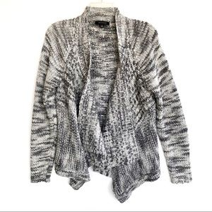 Ann Taylor Gray Marled Open Knit Cardigan Chunky M